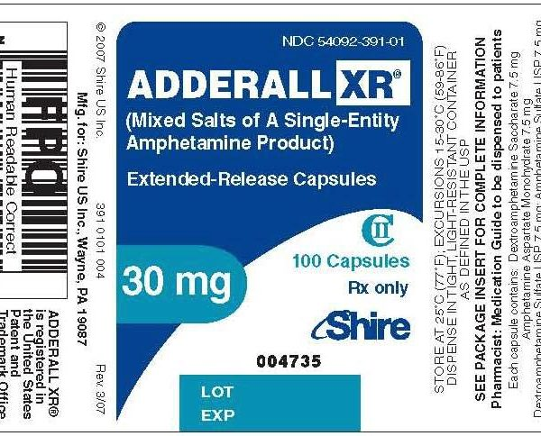 Adderall label